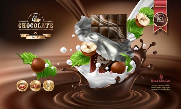 3d-брызги расплавленного шоколада и молока с падающими кусками шоколадных батончиков. Бесплатные векторы