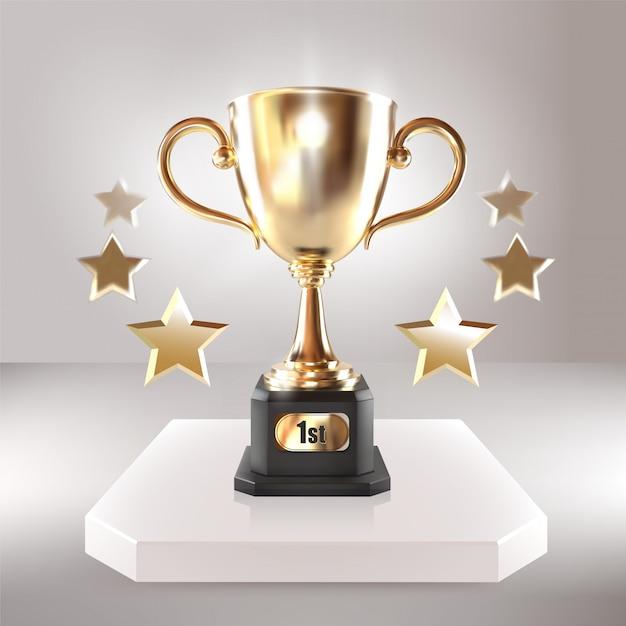 Золотой чемпионский кубок со звездами. векторная иллюстрация реалистичные 3d. чемпионат по трофею. награда спортивного турнира. концепция победы Premium векторы