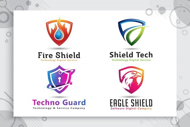 Установите коллекцию 3d щит технологий логотипа с современной концепцией. Premium векторы