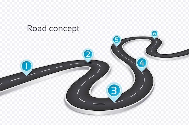 Извилистая дорога 3d инфографики концепция Premium векторы