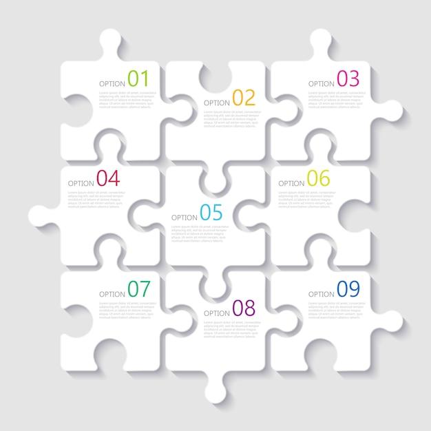 Современный абстрактный 3d головоломка инфографики шаблон с девятью вариантами шагов Premium векторы