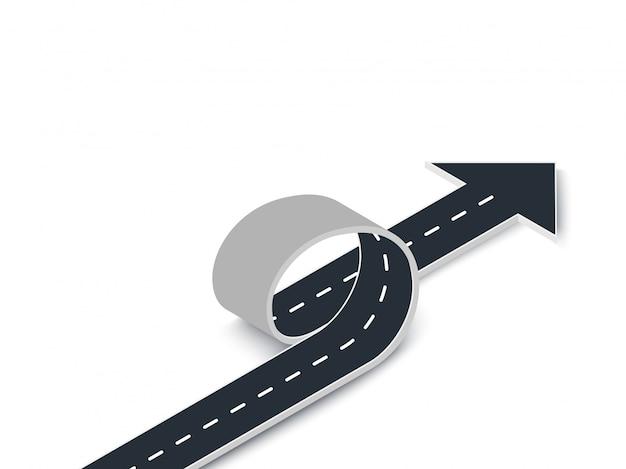 矢印等角図と道路ループ。曲がりくねった3dロード Premiumベクター