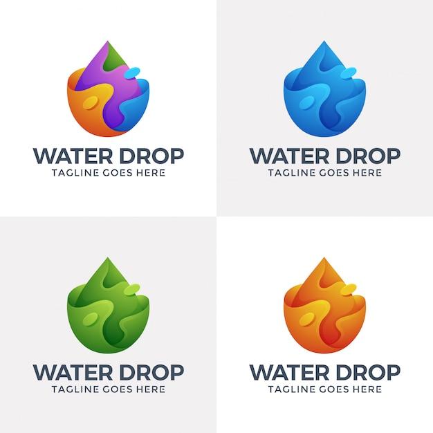 3dスタイルのモダンな液体の水のロゴ。 Premiumベクター
