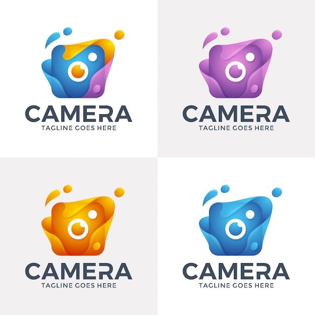 3dスタイルのモダンな抽象カメラのロゴ。 Premiumベクター