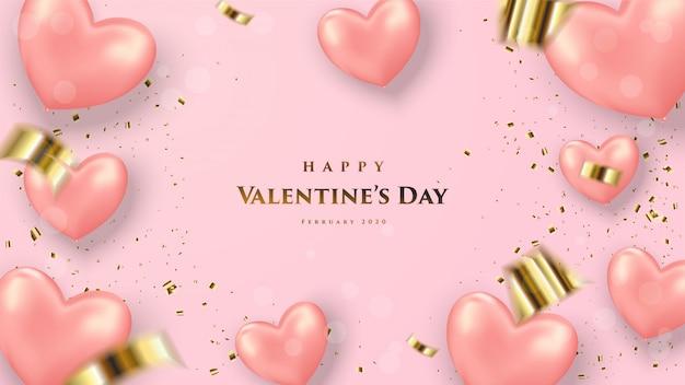День святого валентина фон с изображением розового 3d шар и слово Premium векторы