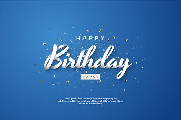 С днем рождения фон с 3d белым написанием на синем фоне. Premium векторы