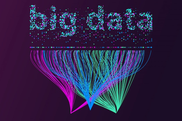 Большая сеть визуализации данных. футуристическая инфографика, 3d волна, виртуальный поток, цифровой звук, музыка. Premium векторы