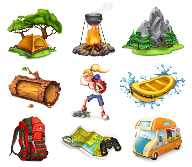 Лагерь и приключения, набор 3d иконок Premium векторы