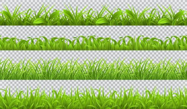 Весной зеленая трава, бесшовные. 3d реалистичный набор Premium векторы