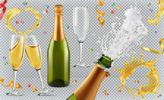 Шампанское. стаканы, бутылки, брызги. 3d реалистичный набор Premium векторы