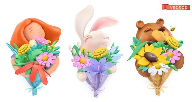 花の花束と変なキャラクター。女の子、イースターのウサギ、クマ。塑像用粘土オブジェクト。 3dセット Premiumベクター