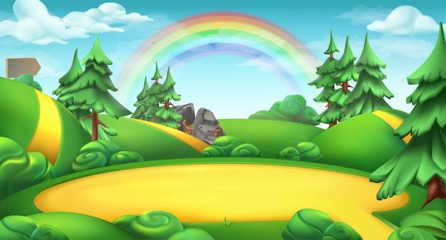 Поляна в лесу. природа пейзаж 3d фон Premium векторы
