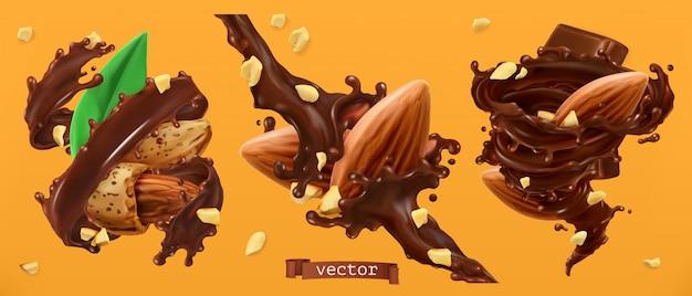 Миндальные орехи и шоколадные брызги. 3d реалистичный Premium векторы