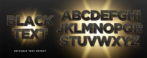 Эффект стиля текста черного золота 3d Premium векторы