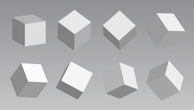 Белые блоки, 3d моделирование белых кубиков Premium векторы