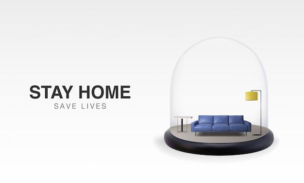 Дизайн шаблона предпосылки иллюстрации 3d пребывания дома в карантине собственной личности, защите от вируса. Premium векторы