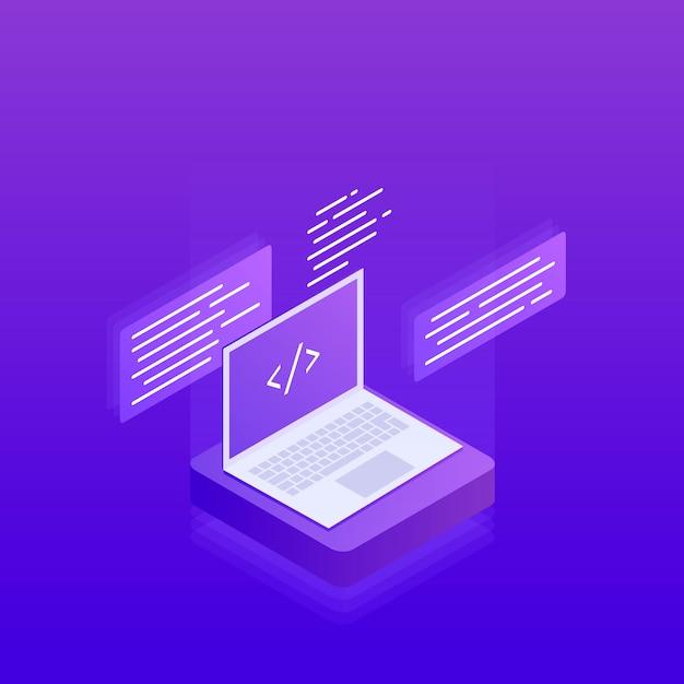 Разработка и программирование программного обеспечения, теги программного кода на экране ноутбука, обработка больших данных. 3d изометрические квартира. современная иллюстрация Premium векторы