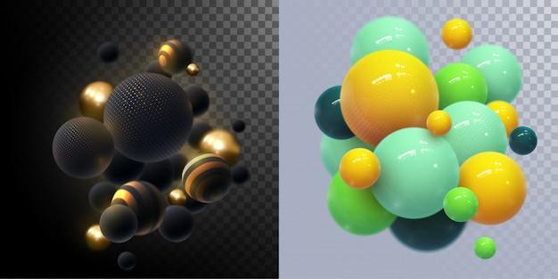 Абстрактный фон с динамическими 3d сфер. пластиковые желтые пузыри. иллюстрация глянцевых шаров. современный модный баннер Premium векторы