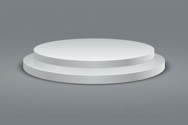 Круглый подиум. набор пьедестала победителя. 3d двухступенчатая платформа на сером фоне. вектор Premium векторы