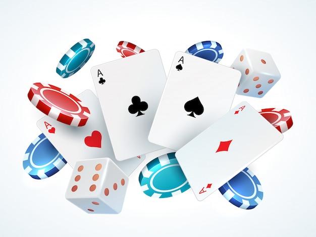 Игральные карты, фишки, кости. казино покер азартные игры реалистичные 3d падающие карты и фишки, изолированные на белом. покерные карты Premium векторы