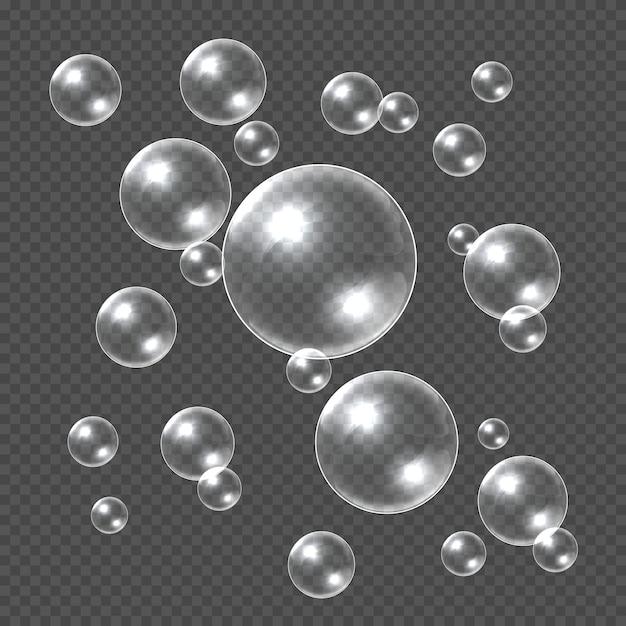 Реалистичные мыльные пузыри. белый 3d мыльный шар, прозрачный шампунь пузырь. водный шар с отражениями прозрачный шаблон Premium векторы