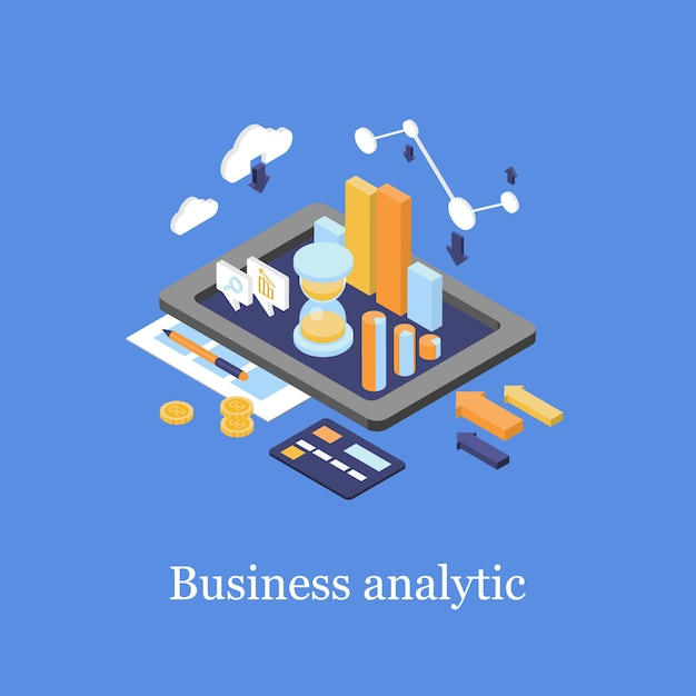 Бизнес 3d изометрические инфографики аналитика данных Premium векторы