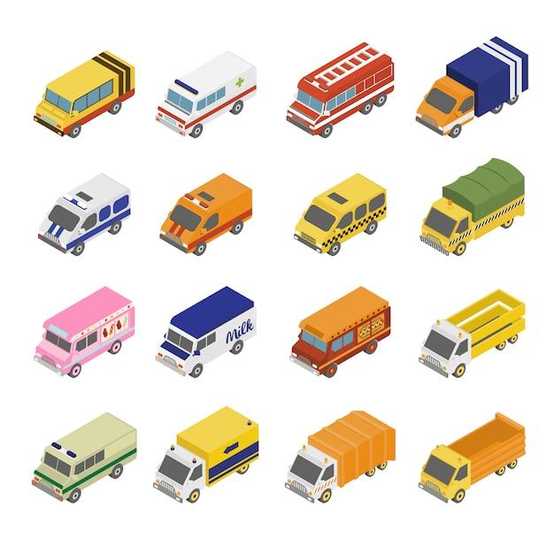 Сервисный транспортный набор. плоские 3d изометрические Premium векторы