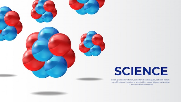 分子3d球科学バナー Premiumベクター