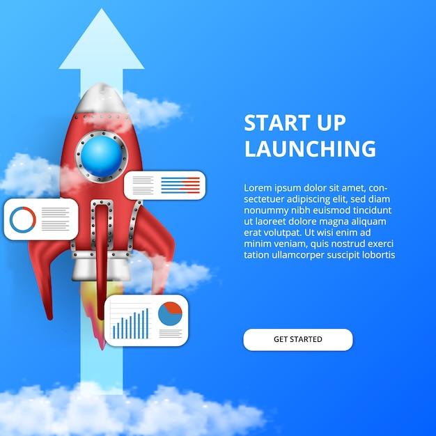 3d запуск ракеты. расти бизнес быстрее всего с статистика данных графического анализа данных Premium векторы