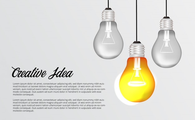 Подвесной светильник 3d для мозгового штурма Premium векторы