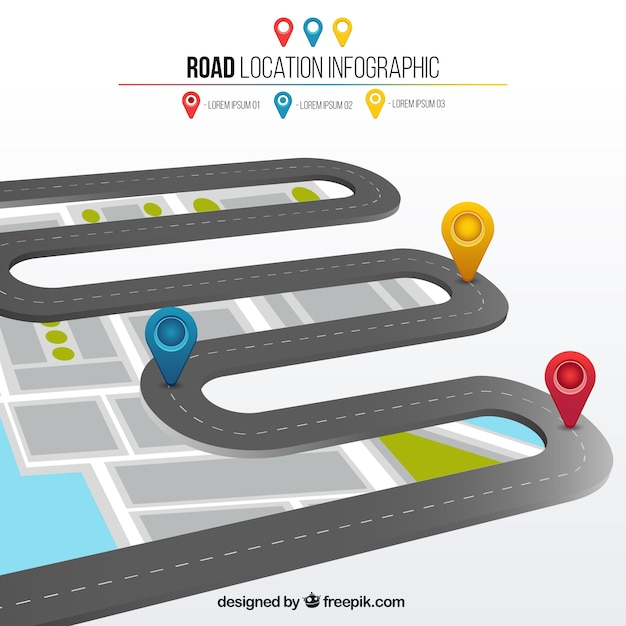 Дорога расположение 3d инфографики Бесплатные векторы