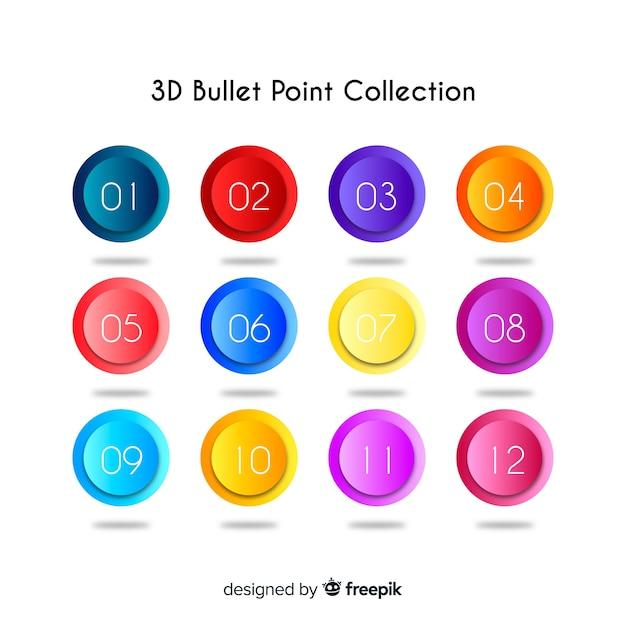 3d красочная коллекция пули Бесплатные векторы