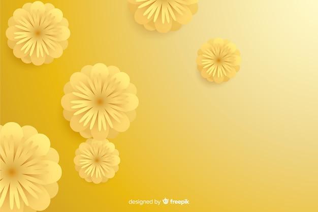 Фон с 3d золотыми цветами, исламский дизайн Бесплатные векторы