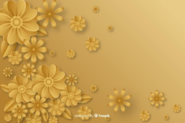 Золотой фон с 3d цветами Бесплатные векторы