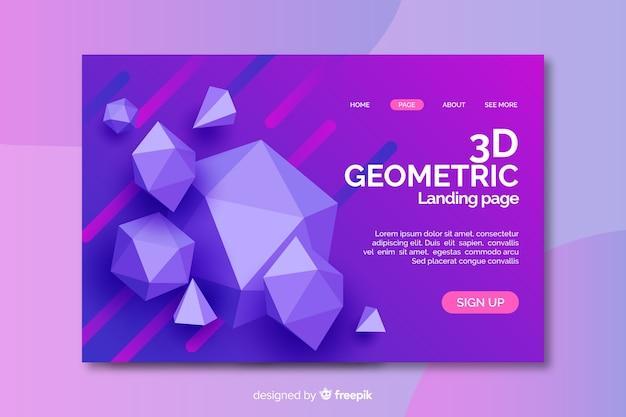 3dダイヤモンドの幾何学的図形のランディングページ 無料ベクター
