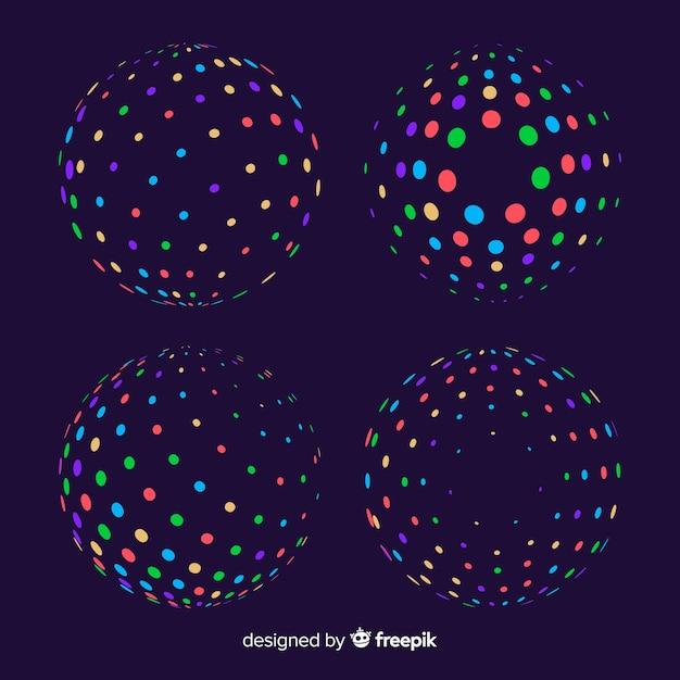 Коллекция красочных частиц 3d геометрических фигур Бесплатные векторы
