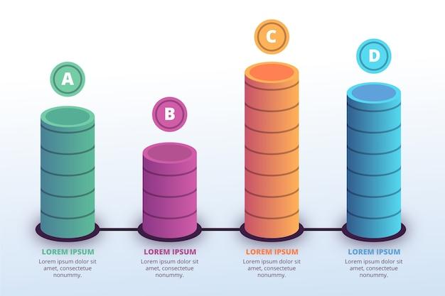 3d бары инфографики шаблон Бесплатные векторы