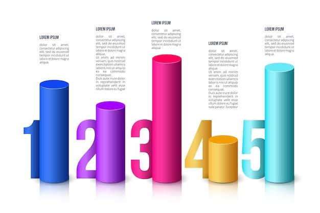 Шаблон инфографики 3d баров Бесплатные векторы