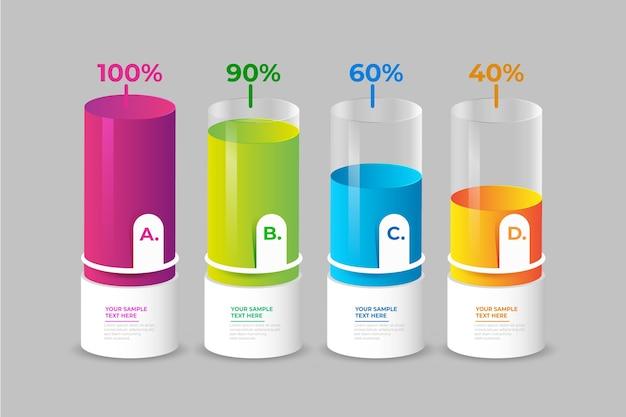 Красочные 3d бары инфографики Бесплатные векторы