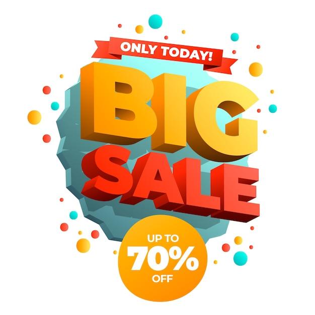 Красочный 3d большой баннер продажи Бесплатные векторы
