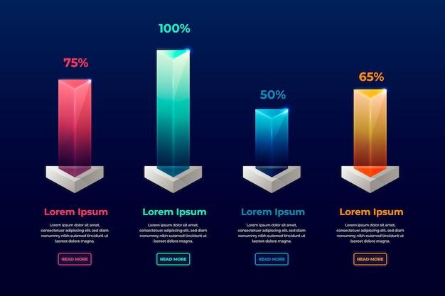 3d бары красочные инфографики Бесплатные векторы