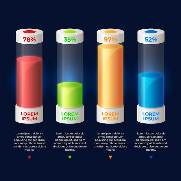 3d бары красочные инфографики шаблон Бесплатные векторы
