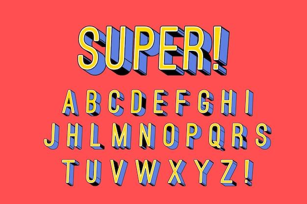 3d концепция комического алфавита Бесплатные векторы