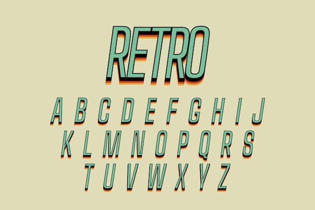 3d ретро алфавит тема Бесплатные векторы