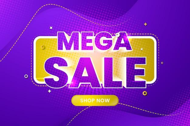 Красочный 3d мега фон продаж Бесплатные векторы