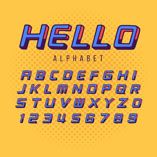 3d комический алфавит Бесплатные векторы