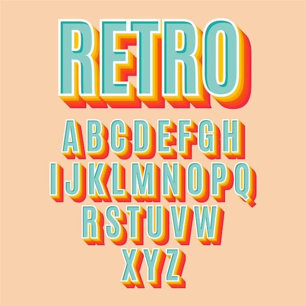 3d коллекция ретро алфавит Бесплатные векторы