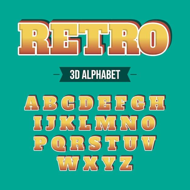 3d концепция ретро алфавит Бесплатные векторы