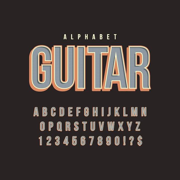 Алфавит в 3d ретро концепции Бесплатные векторы
