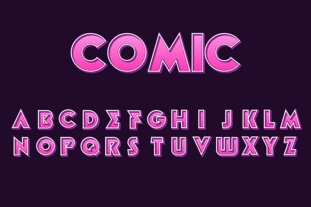 3d тема комического алфавита Бесплатные векторы